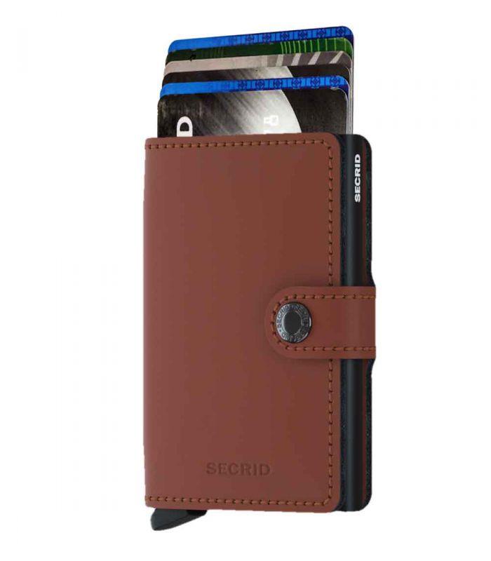 SECRID - Secrid mini wallet leather matte brick-black