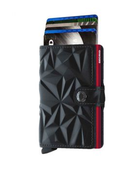Secrid mini wallet leather prism black red
