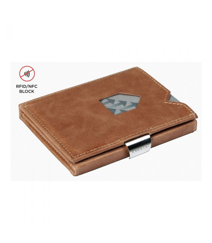 Exentri - Exentri slim wallet leather solid Sand brown with RFID block