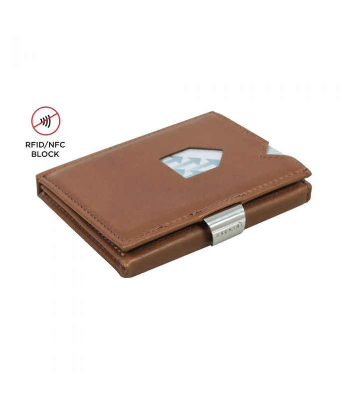 Exentri - Exentri slim wallet leather Solid Hazelnut with RFID block