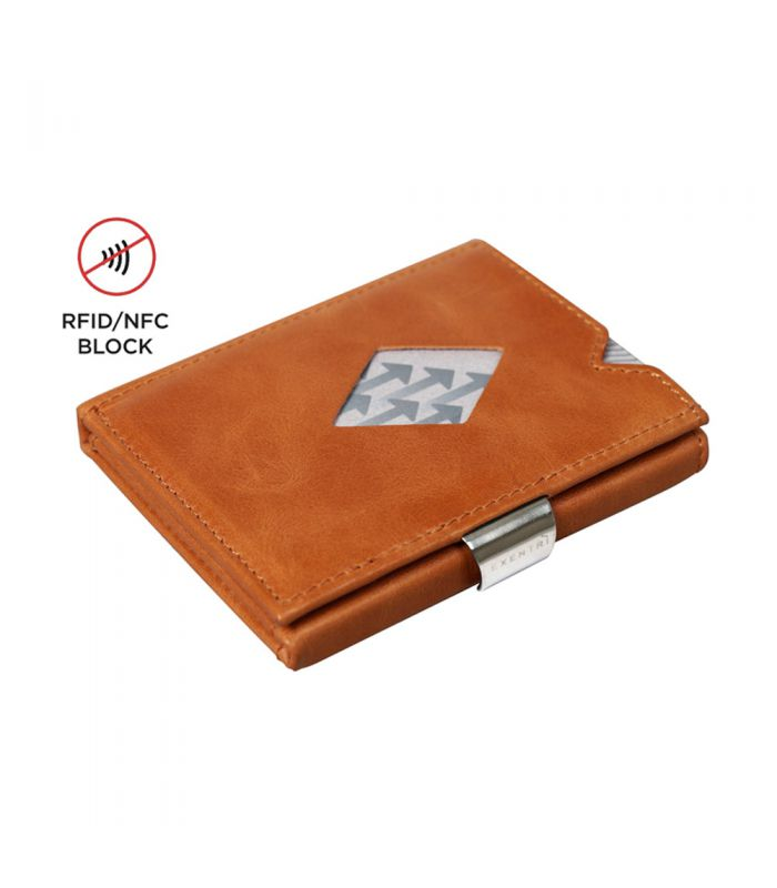 Exentri - Exentri slim wallet leather Cognac brown with RFID block