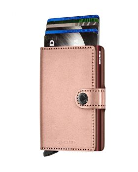 Secrid mini wallet leather metallic rose bordeaux