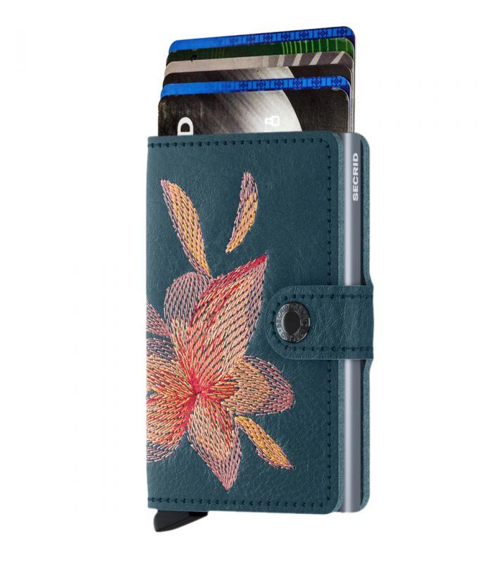SECRID - Secrid mini wallet leather stitch magnolia petrolio