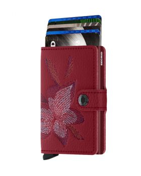 Secrid mini wallet leather stitch magnolia rosso