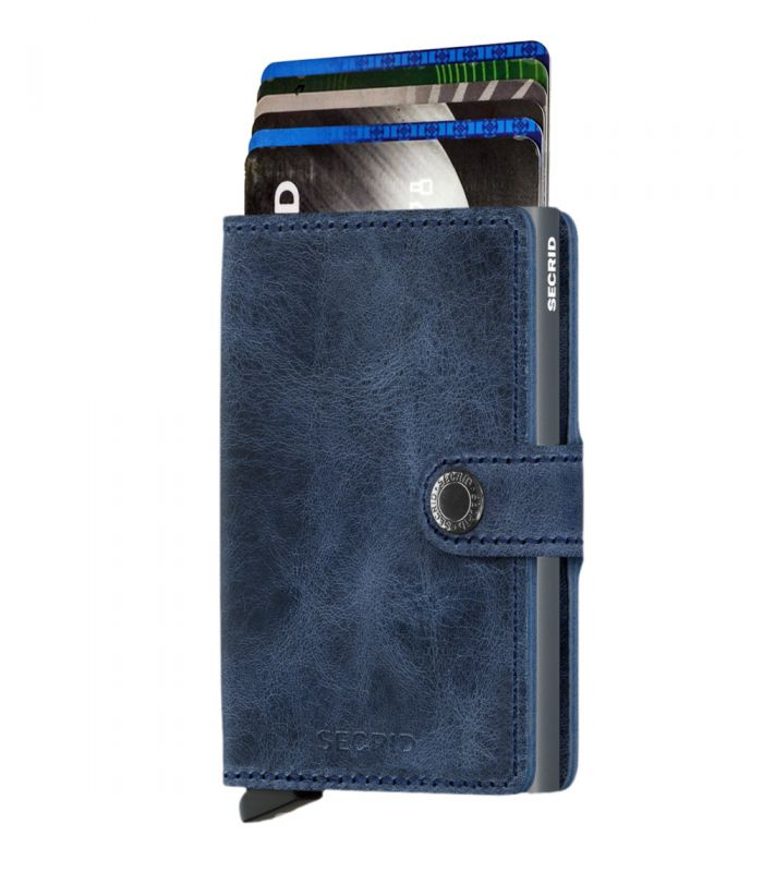 SECRID - Secrid mini wallet leather vintage blue titanium