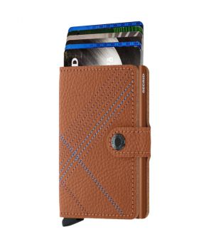 Secrid mini wallet leather stitch linea caramello