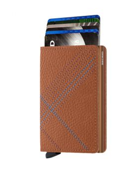 Secrid slim wallet leather stitch linea caramello