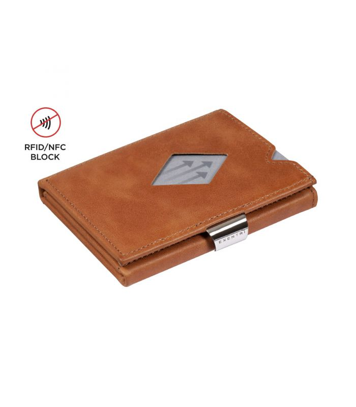 Exentri Exentri multi wallet leather Sand with RFID block and coin compartment