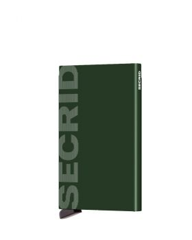 Secrid card protector aluminium in color green lasered Secrid logo