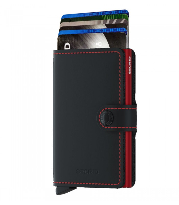 Secrid mini wallet leather matte dark black red