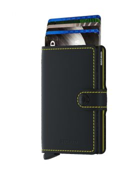 Secrid mini wallet leather matte dark black yellow