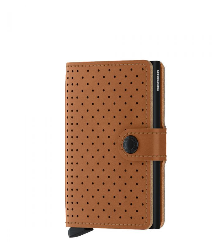 Secrid mini wallet leather perforated cognac