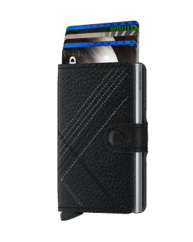 Secrid mini wallet leather stitch linea black