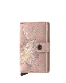 Secrid mini wallet leather stitch magnolia rose