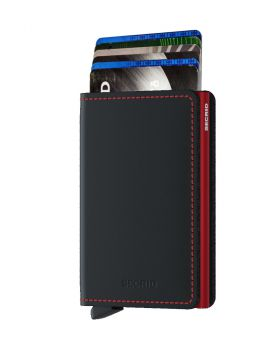 Secrid slim wallet leather matte black red