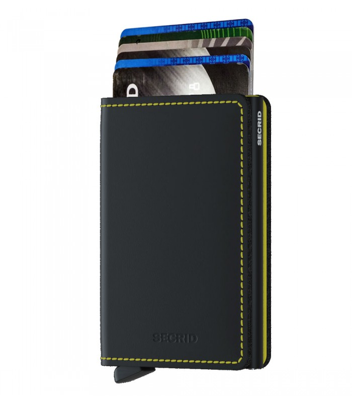 Secrid slim wallet leather matte black yellow