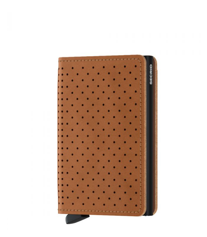 Secrid slim wallet leather perforated cognac