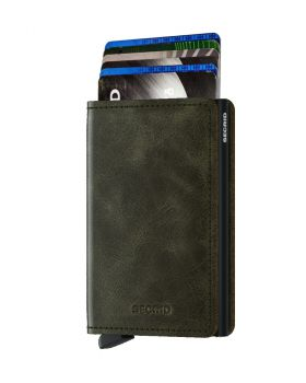 Secrid slim wallet leather vintage olive black