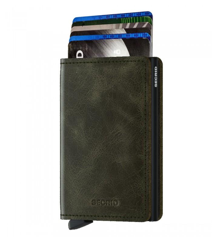 Secrid slim wallet leather vintage olive black