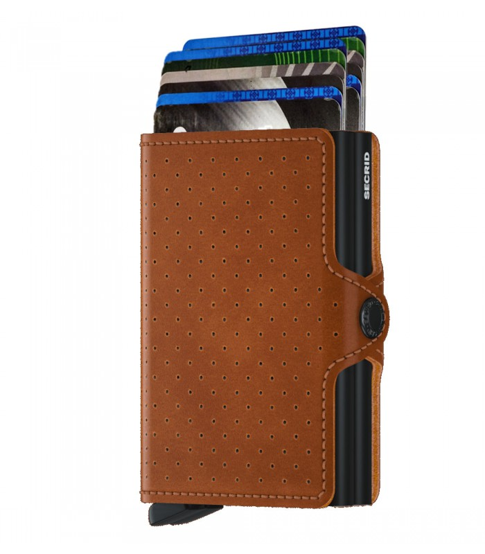 Secrid twin wallet leather perforated cognac