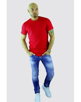 T-shirt cotton rib red