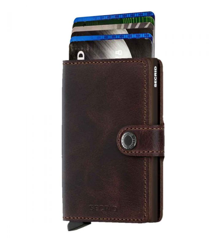 SECRID - Secrid mini wallet leather vintage chocolate